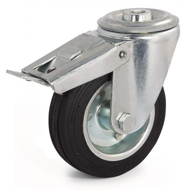 001150OBZF-Ruota in acciaio e gomma diametro 150mm  girevole