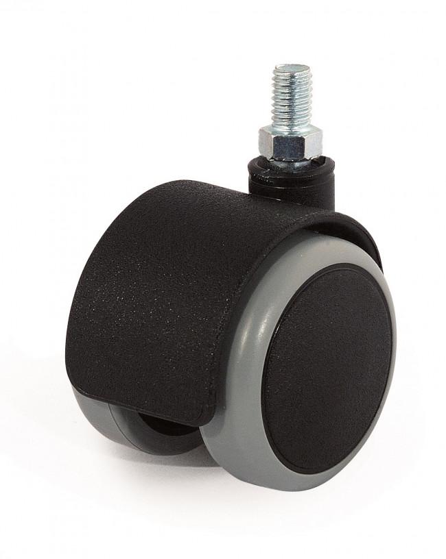 2700501BN-gemellata in gomma grigia diametro 50mm girevole con supporto a vite